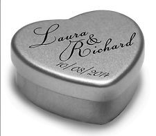 Wedding Favours Personalised  Party Heart Gift Tins With Mints or Chocolates x