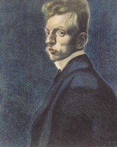 Leon Spilliaert (Be. 1881-1946) Self portrait on blue background (1907)