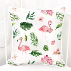 Looking for the right tropical accent? This fun tropical floral flamingo's square pillow cover is great to throw on the glider. Perfect for an accent pillow.