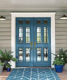 Door color is BEHR Blueprint. BEHR 2019 color of the year - . Door color is Trending Paint Colors, Popular Paint Colors, Exterior Paint Colors For House, Paint Colors For Home, Front Door Paint Colors, Front Door Painting, Beige House Exterior, Paint Colours, Entryway Paint Colors