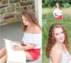 A beautiful senior portrait session in a natural setting with a gorgeous curly haired senior who is an artist. Photographed by Bishop McDevitt senior photographer Tina Jay Photography in Mechanicsburg Pennsylvania.