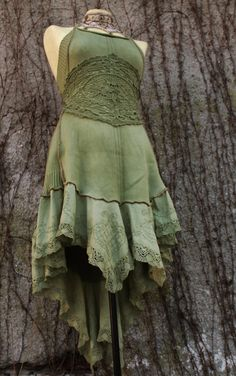rococo fishtail dress  - rustic ruffle fairy tail pirate style romantic dress tunic halter in lace and cotton in dusty green olive sage. €159.00, via Etsy.