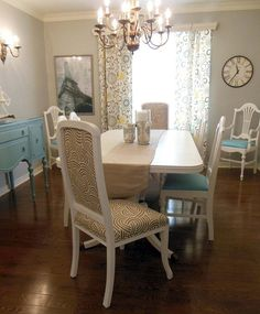 This DIYer painted furniture and even the chandelier to lighten up her dining room.