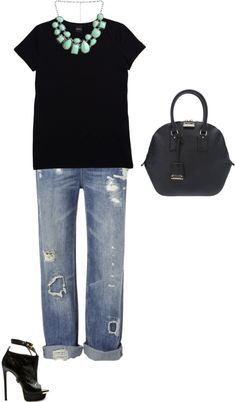 """""""bf jeans, statement necklace & Burberry """"Orchard"""" bag"""" by shelovesmakeup on Polyvore"""