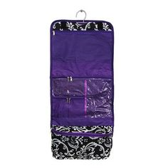 Damask Purple Trim Cosmetic Bag with Lining LD Bags. $13.99