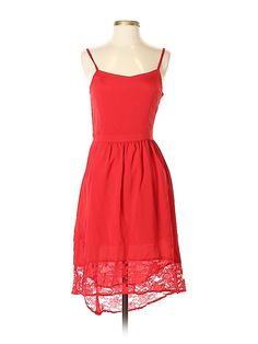 Mac & Jac Cocktail Dress - High/Low: Red Lace Dresses - Used - Size Medium Online Thrift Store, Red Cocktail Dress, Second Hand Clothes, Red Lace, Lace Detail, Thrifting, Awards, Mac, Cocktails