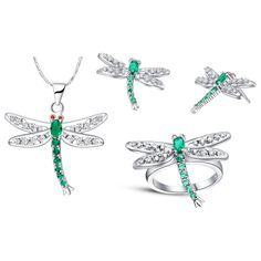 925 Sterling Silver Jewelry,925-sterling-silver Colorful Crystal Dragonfly Necklace+Earring+ringJewelry Set Women Gift