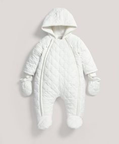Ideal for the cooler months, this quilted pramsuit ensures baby is warm & snug. White Quilted Pramsuit Includes: - Jersey lined. - Double Zip opening at front for easy changing. - Machine washable at Baby Boy Outfits, Kids Outfits, Prams And Pushchairs, Mamas And Papas, Buy Buy Baby, Kid Styles, Snug, Cute Babies, Clothes