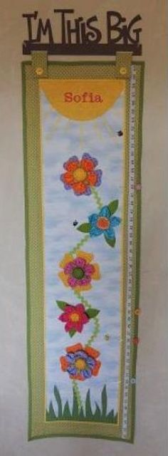 """""""Bloomin Up"""" growth chart patterns and kits by Pastime Pieces. Personalize your little girl's name to make this a useful, colourful gift for her room. Little Girl Names, Little Girls, Growth Charts, Pattern Design, Gifts For Her, Kit, Quilts, Patterns, Sewing"""