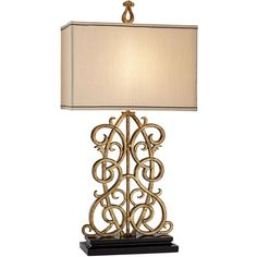 Kathy Ireland Jardin Gate Antique Gold Leaf Scroll Table Lamp ($199) ❤ liked on Polyvore featuring home, lighting, table lamps, kathy ireland, kathy ireland lamps, kathy ireland lighting, kathy ireland table lamps and traditional table lamps