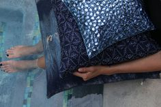 Assorted Navy Jewel Pillows | idea for pillows to be in same color family different shades and textures..