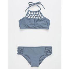 Damsel High Neck Girls Bikini Set ($35) ❤ liked on Polyvore featuring swimwear, bikinis, high neck halter top, tie bikini, crochet bikini, high neck bikini swimwear and halter bikini