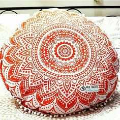 opal round cushion cover pom pom large floor