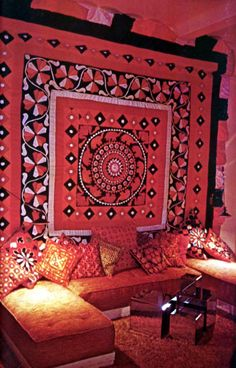 Tapestry Wall and Moroccan Pillows. Wish I had a straight ceiling.