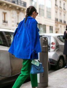 Cool Street Fashion, Street Style, Paris Fashion, Blue Coats, Green Pants, Raincoat, Classy, Stylish, Jackets
