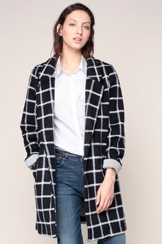 Manteau noir/blanc imprimé carreaux  - Maison Scotch