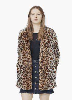 Manteau léopard en fourrure synthétique