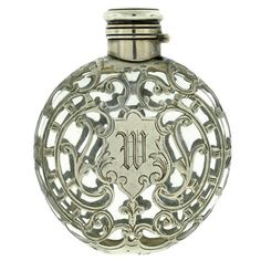 Victorian Large Sterling Silver Overlay Glass Perfume Bottle