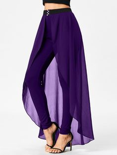 High Waist Slimming Pants with Skirt - PURPLE XL