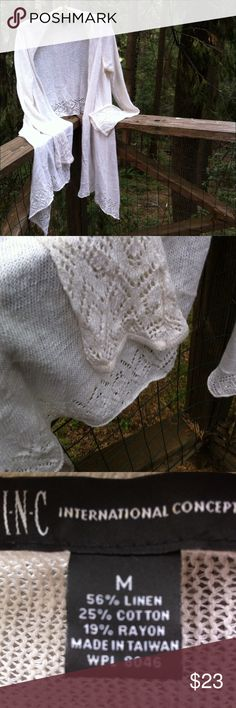 Shawl style cardigan in of white Easy breezy , open weave at the edges, bell sleeved, knee length in front, waist length in back. Imagine dressing up jeans or for an even ing out add to dress ... A 'Kristens Find' posh on girlfriend;) I N C  Sweaters Cardigans