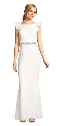 Ruffle Sleeve Crepe Gown with Open Back and Jeweled Sash | Adrianna Papell
