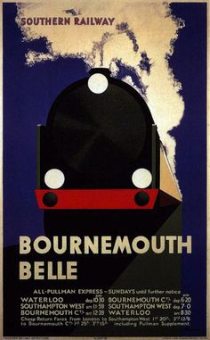 Southern Railway, The Bournemouth Belle Train Posters, Railway Posters, Bus Travel, Train Travel, Travel Ads, Poster Ads, Advertising Poster, Transport Map, Transport Posters