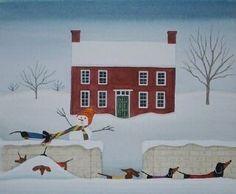 Pack van 12 kerstkaarten (met enveloppen) van een originele aquarel door bekroonde kunstenaar Cindi Lynch, die bekend is voor haar grillige, zeer gedetailleerd werk. Kaarten worden professioneel afgedrukt op hoge kwaliteit zwaar papier en meet 5.5 X 4,25. Binnen zegt het Walking in a