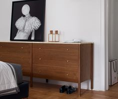Egg Collective& marble-topped, walnut-veneer Morrison dresser has six drawers, providing space for two sets of socks and undergarments. Storage Shelves, Shelving, Walnut Veneer, Awesome Bedrooms, Marble Top, Bedroom Furniture, Dresser, Drawers, Nice Picture