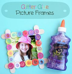 Young children will love this craft! Glitter glue picture frames. Make for Grandma or Auntie.