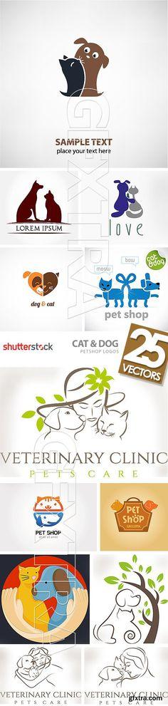 Cat & Dog Petshop Logos 25xEPS Logo Animal, Dog Logo, Mascot Design, Dog Items, Neko, Fauna, Pet Store, Logo Design Inspiration, Business Card Design