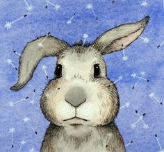 Clover Print - Rabbit Bunny Dandelion Art Blue. $18.00, via Etsy.