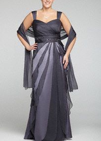 Stunning and fresh, you will look sensational in this twist on the traditional Mother of the Bride dress!   Sleeveless bodice features ultra feminine sweetheart neckline.  Beaded empire waist sparkles while creating a flattering silhouette.  Multi tiered chiffon skirt gives this dress an airy whimsical feel.  Stylish coordinating wrap is included for optional coverage.  Fully lined. Back zip. Imported polyester. Dry clean. Available in Missy sizes as Style 061871020.