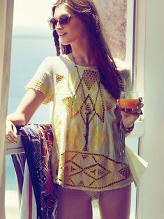 Free People FP New Romantics Cariocas Cutwork Tee at Free People Clothing Boutique - for over a swimsuit
