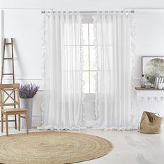 Bella Tab-Top Ruffle Sheer Window Curtain Panel - X - White - Elrene Home Fashions : Target Girl Curtains, Ruffle Curtains, Closet Curtains, Bedroom Drapes, White Curtains, Living Room Bedroom, Panel Curtains, Dorm Room, Beach Curtains