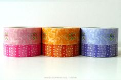These are pretty Alsace Flower washi tape. 3 color sets to choose from: pink, orange, and lavenderSet of 220mmx12m and 15mmx12m $9.00