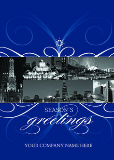 City Of Chicago Florish Light blue and white florishes set against a deep blue background, with images of the city of Chicago landmarks, make for a striking Christmas greeting card.