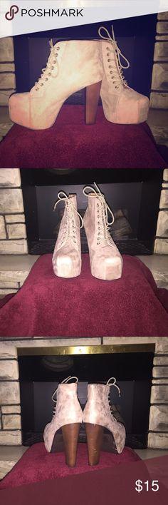 Platform Heels Platform boogie Heels. Beige/tan suede material. Worn once. Shoes Platforms
