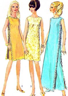 década de 1960 vestido patrón simplicidad 7344 Mod Maxi sin mangas o vestido Midi y ropa Vintage de mujer costura patrón busto 32