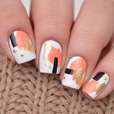 Abstract art with gold foil accents by @beautyaddictedd inspired by @ninanailedit. ✨ Get featured: #nailitdaily