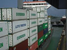 This sort of shows how huge the mega freighters are. Panama Canal, Evergreen, Lockers, Locker Storage, Locker, Closet, Cabinets, Cubbies