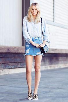 Tucked button down + Denim Skirt + Slip-On Sneakers