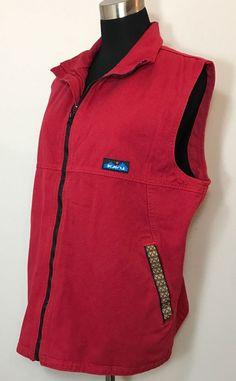 Kavu Mens Size L Vest Canvas Red Brown Black Vintage Hiking Outdoor Grossgrain #Kavu #Vest