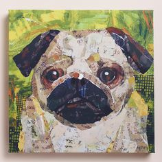 A master of composition and color, Sandy Doonan depicts a wide-eyed pug in this lively painting. >> #WorldMarket Pet Lovers