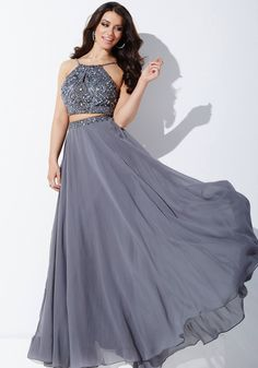 ca98551af Vestido de fiesta de dos piezas en color gris oscuro  Jovani 33848 Vestidos  Dos Piezas
