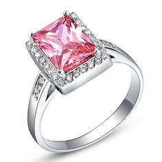 Find More Rings Information about Women Rings Simulated Diamond Jewelry 925 Sterling Silver Ring for Woman Pink Square Anel Feminino Fashion Anel Ulove J427,High Quality jewelry instruments,China jewelry machine Suppliers, Cheap jewelry making ring settings from D&C Fashion Jewelry Buy to Get a Free Gift on Aliexpress.com