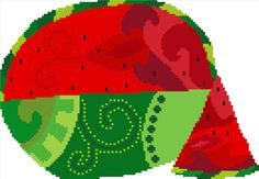 Fun watermelon cross stitch pattern. Modern cross stitch design by crossstitchtheline Swirls of deep red and cheerful greens lend this pattern a happy, almost Christmas like feel.