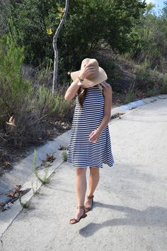 Madewell Mesa Hat / Old Navy striped swing dress