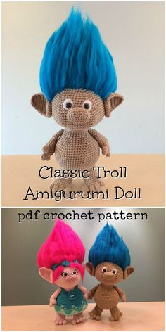 Trolls! Love this classic troll doll amigurumi crochet toy pattern! Looks great to make as a gift for a kid! What fun crazy hair! I wonder how they do it? #etsy #ad #LittleTumbleFriends