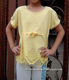 MeiJo's JOY: Easy Old T-shirt revamp - No Sew! (2)  http://meijosjoy.blogspot.com/2012/07/easy-old-t-shirt-revamp-no-sew-2.html