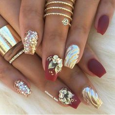 Short coffin nails, nail art design ideas | decorado de unas